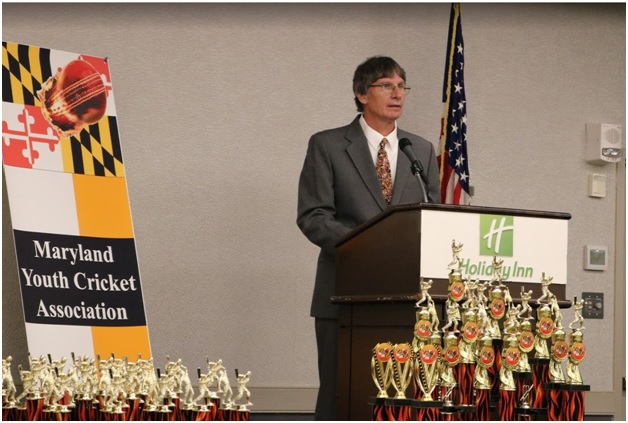 MYCA Chairman Jamie Harrison speaking at the organization's third annual banquet in College Park, MD on October 5.