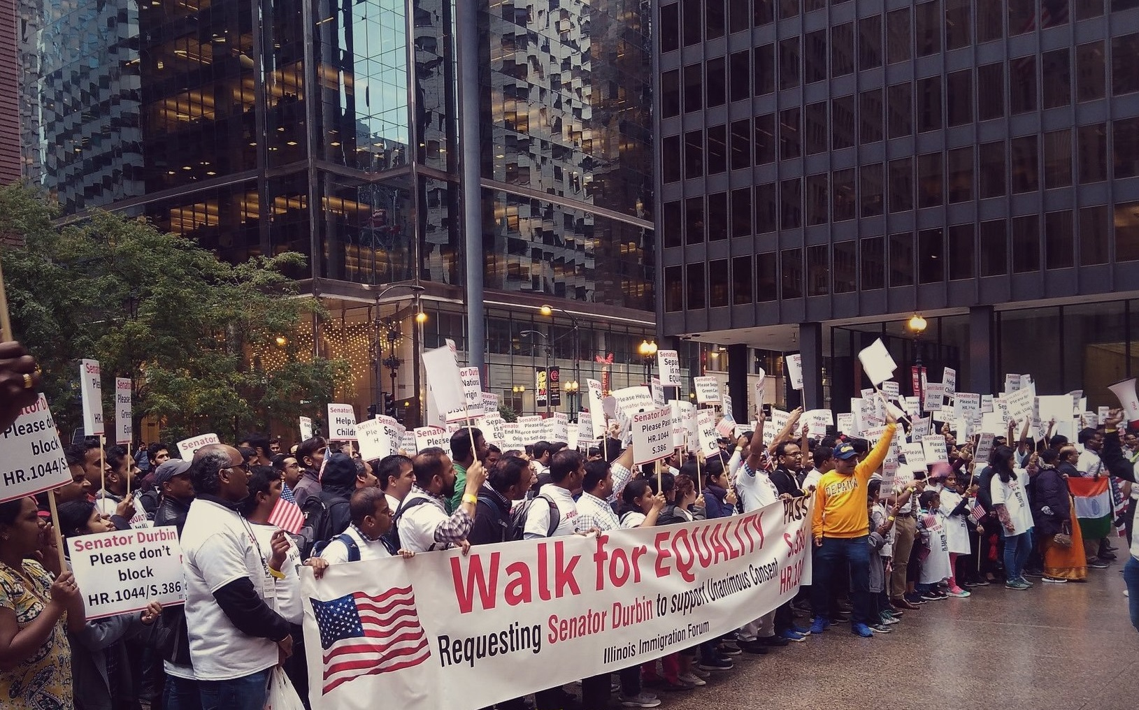 Indian immigration activists protesting in Chicago on Thursday.