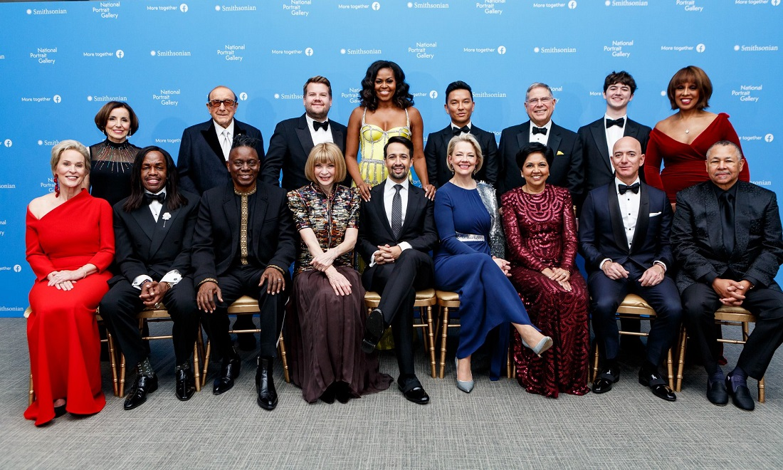 Honorees, presenters and artists at the 2019 American Portrait Gala hosted by the Smithsonian's National Portrait Gallery. Former First Lady Michelle Obama (standing fourth from left) made a rare appearance at the star-studded event. Seated third from right is Indra Nooyi, former PepsiCo head, who has been inducted into the Portrait Gallery.