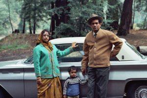 Indian tabla player Pandit Shankar Ghosh and classical vocalist Shrimati Sanjukta Ghosh with Vikram (Boomba) Ghosh at Samuel P. Taylor State Park, Lagunita, California, circa. 1970.