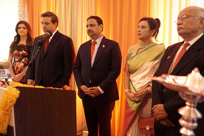 Florida Gov. Ron DeSantis (second from left) and First Lady Casey DeSantis (left) hosted a Diwali reception at the Governor's Mansion in Tallahassee on November 6, 2019. Also seen are prominent Indian American Republican donor Danny Gaekwad (center), his wife Manisha Gaekwad (second from right) and community leader Piyush Aggarwal.