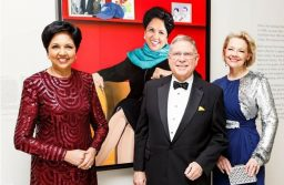 Indian-American trailblazer Indra Nooyi, the highly regarded former CEO of PepsiCo, Inc., has been inducted into the Smithsonian's National Portrait Gallery. She is seen here at the 2019 American Portrait Gala with Alberto Ibarguen (center-left) who presented her with the prestigious 'Portrait of a Nation Prize', and Kim Sajet, the first woman to serve as director of the Portrait Gallery.