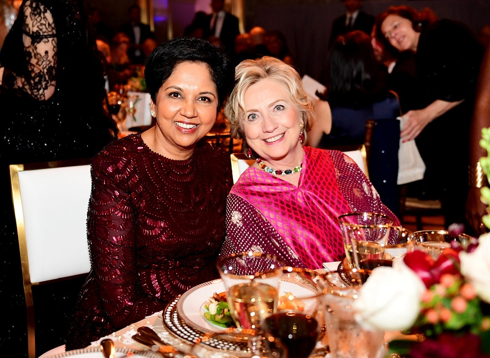 Former First Lady Hillary Clinton and former PepsiCo chief Indra Nooyi at the 2019 American Portrait Gala hosted by the Smithsonian's National Portrait Gallery on November 17, 2019, in Washington, DC.