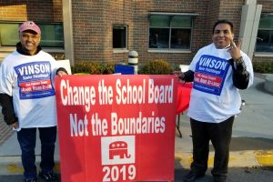 Fairfax County School Board candidate Vinson Palathingal (left), with campaign volunteer Madhu Nambiar, at a recent campaign event.