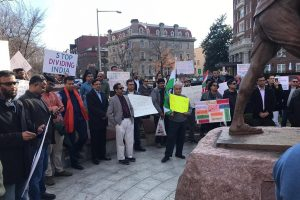A group of Indian Americans protesting against India's controversial Citizenship (Amendment) Act in front of the Embassy of India in Washington, DC, on Saturday.