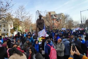 Hundreds protested in front of the Embassy of India in Washington, DC, on December 22 against the The Citizenship (Amendment) Act and the National Register of Citizens.