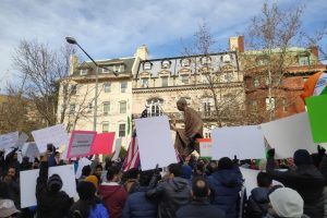More than 500 people protested in front of the Embassy of India in Washington, DC, on December 22 against the The Citizenship (Amendment) Act and the National Register of Citizens. Photo credit: Shahul Hameed