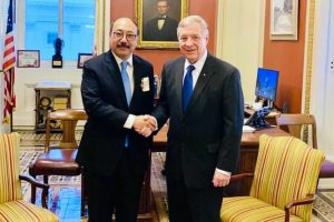 Indian Ambassador to the US Harshvardhan Shringla with Illinois Sen. Dick Durbin.