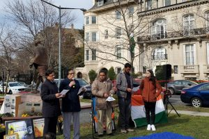 Participants read passages from the Indian constitution at the Satyagraha held in Washington, DC, on February.