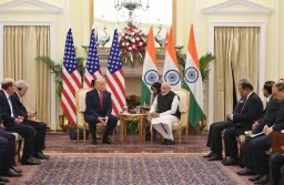 President Donald Trump and Indian Prime Minister Narendra Modi holding talks at Hyderabad House in New Delhi on February 25, 2020.