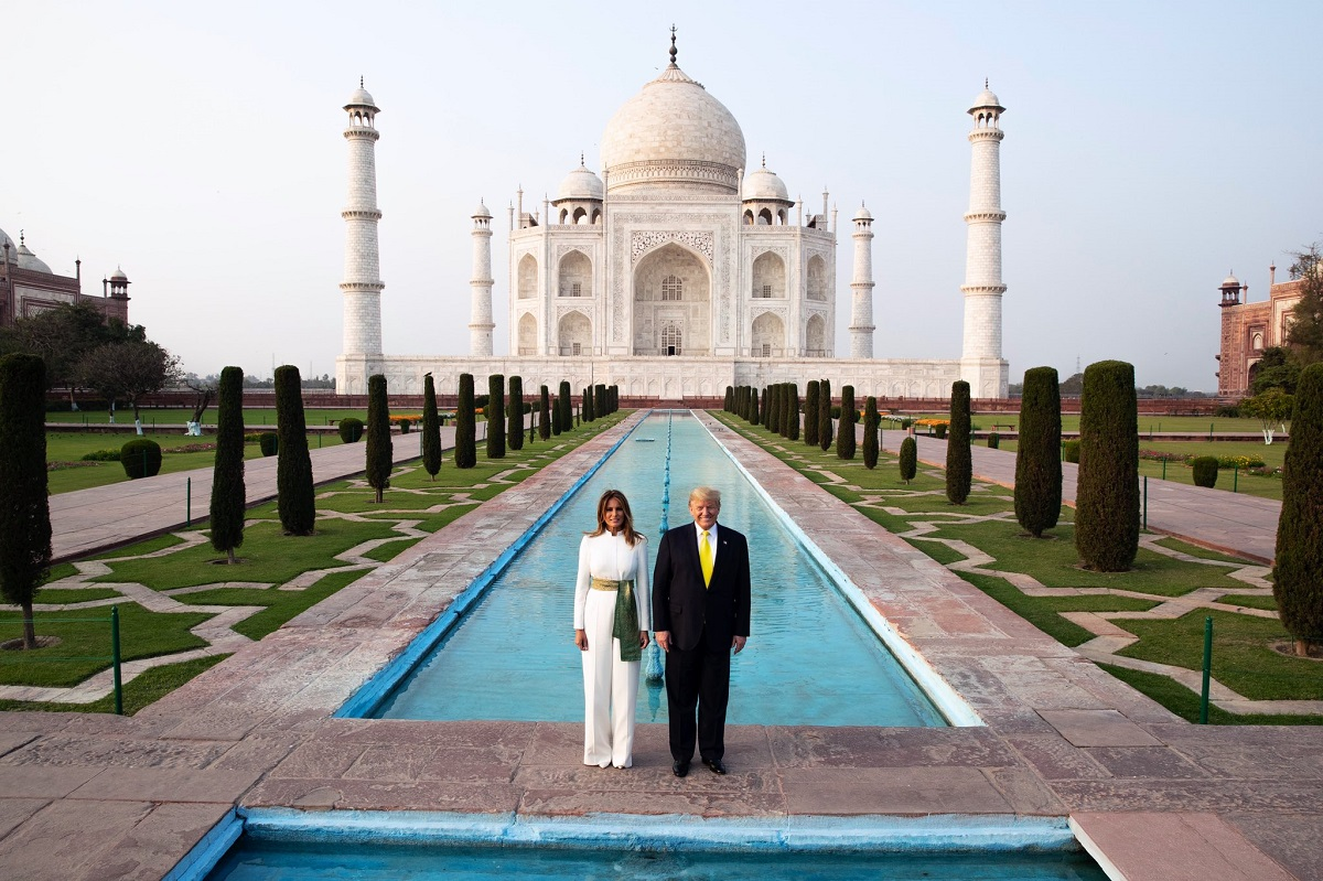President Donald Trump and First Lady Melania in front of Taj Mahal on Monday