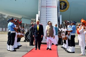 Indian Prime Minister Narendra Modi receiving President Donald Trump on his arrival at the Sardar Vallabhbhai Patel International Airport in Ahmedabad on February 24, 2020. Photo credit: PIB