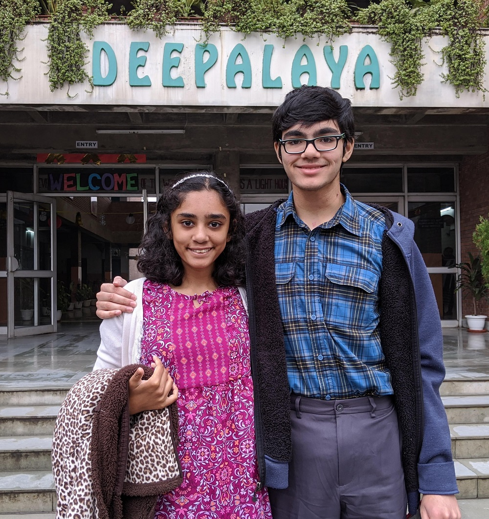 Indian American siblings Tiara and Tanishq Abraham at the Deepalaya School in Delhi , during their recent visit to India.
