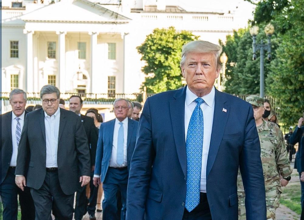 President Trump and Attorney General William Barr (second from left).