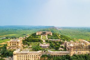 An aerial view of Tijara Fort-Palace and the breathtaking countryside