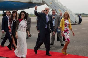 Joe Biden and Dr. Jill Biden arriving at Indira Gandhi International Airport, in New Delhi July 22, 2013. Photo credit: David Lienemann