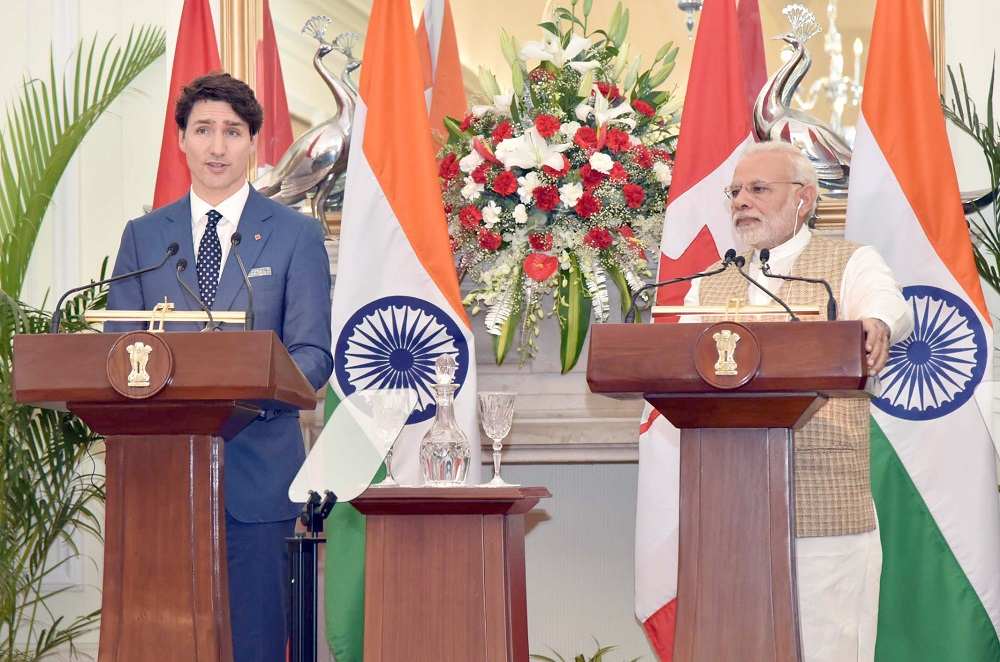 Canadian Prime Minister Justin Trudeau (left) and Indian Prime Minister Narendra Modi during a media interaction in New Delhi on February 23, 2018.