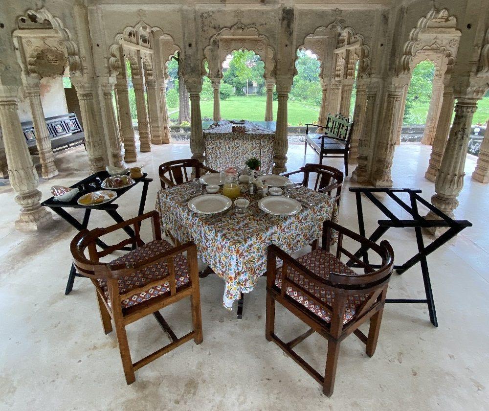 Breakfast set up at the Baradari