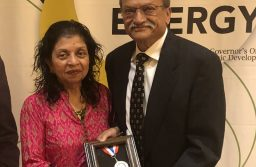 Kalpana Patel and Dr. Dinesh Patel with the Governor's Medal for Science and Technology Lifetime Achievement.