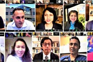 Election winners who joined the Zoom meeting (from top left clockwise): Raghib Allie-Brennan, Harry Arora, Nima Kulkarni, Padma Kuppa; Shri Thanedar, Dr. Amish Shah, Dr. Nikil Saval, Jay Chaudhuri, Kesha Ram and Jenifer Rajkumar