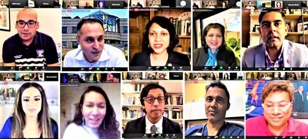 Election winners who joined the Zoom meeting (from top left clockwise): Raghib Allie-Brennan, Harry Arora, Nima Kulkarni, Padma Kuppa; Shri Thanedar, Dr. Amish Shah, Dr. Nikil Saval, Jay Chaudhuri, Kesha Ram and Jenifer Rajkumar