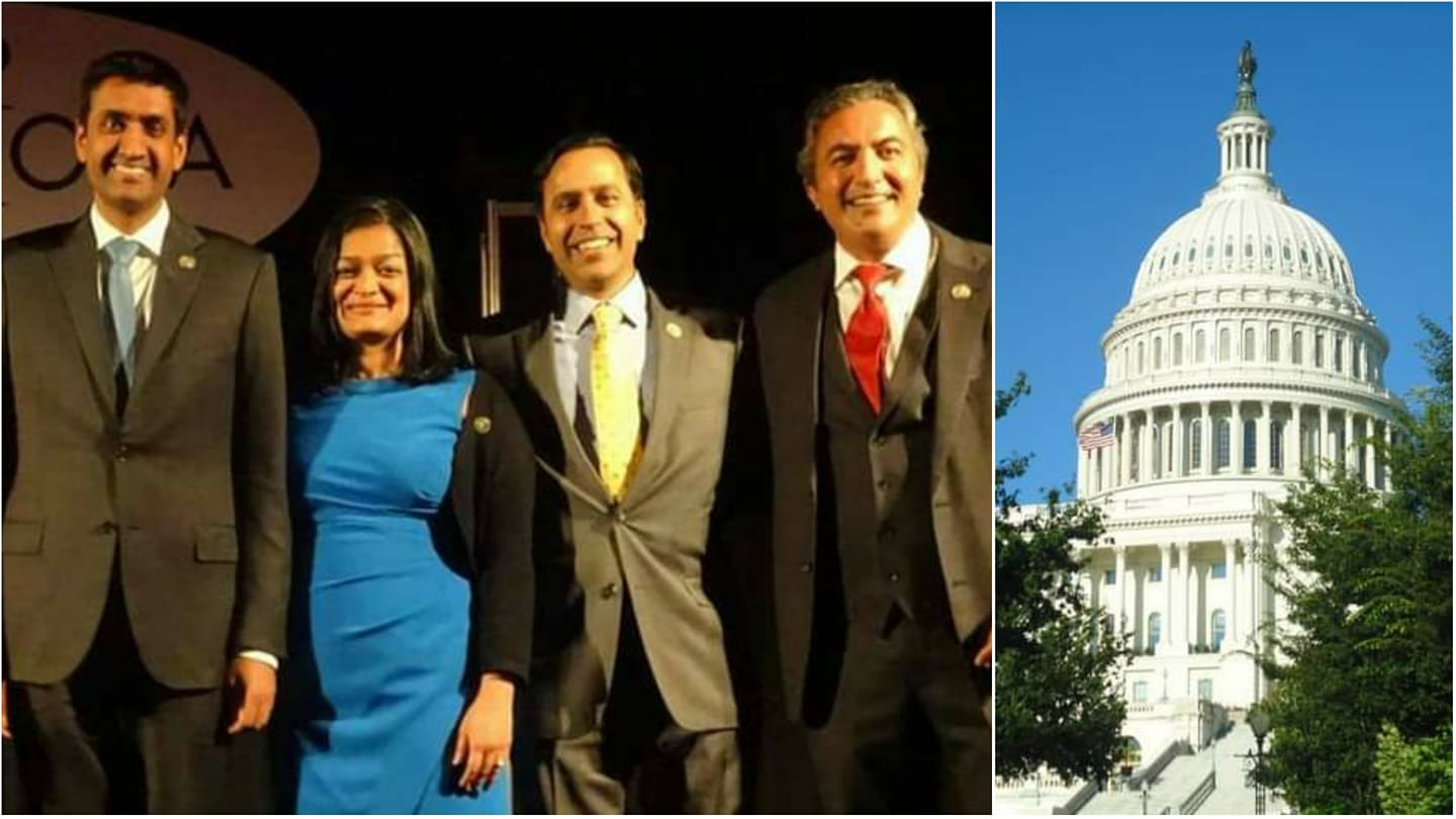 The four Indian-American incumbent lawmakers, all Democrats, were comfortably re-elected to the House of Representatives for the 117th Congress. Seen here from left to right are Reps. Ro Khanna (California), Pramila Jayapal (Washington), Raja Krishnamoorthi (Illinois), and Ami Bera (California)