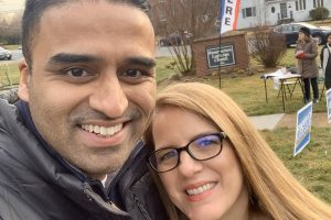 Maju Varghese with his wife, Julie, after casting their votes in the Democratic Party primary in Virginia, in March.