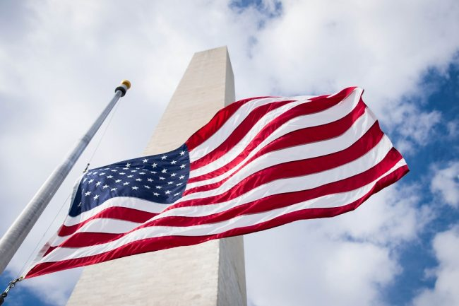 American flag in front of Washington Monumnet