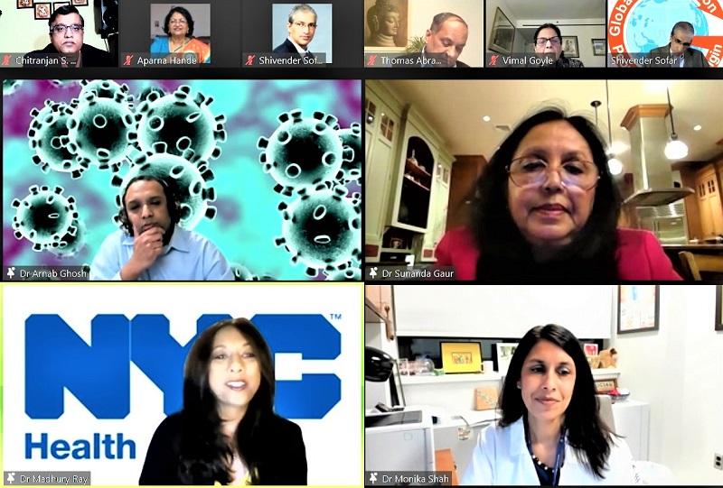 GOPIO Covid pane: Panelists, From top left clockwise, Dr. Arnab Ghosh, Dr. Sunanda Gaur, Dr. Monika Shah and Dr. Madhury (Didi) Ray