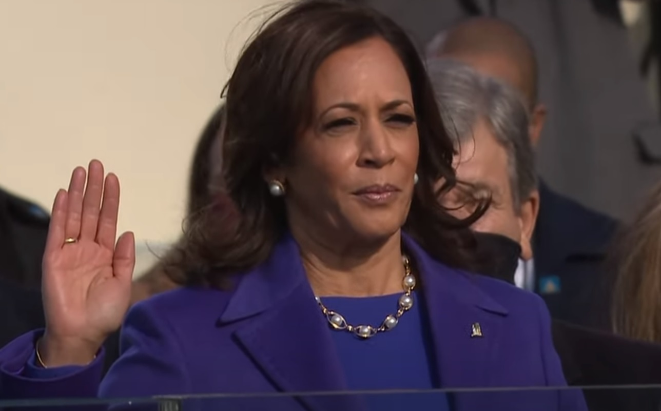 Kamala Harris being sworn in as the Vice President of the United States on January 20, 2021.
