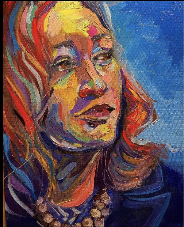 Kamala on a canvas by artist Sally Dean