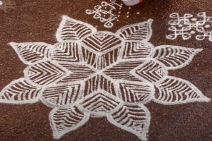 Traditional artwork kolam to celebrate America's incredible diversity made by hundreds of people across the nation.