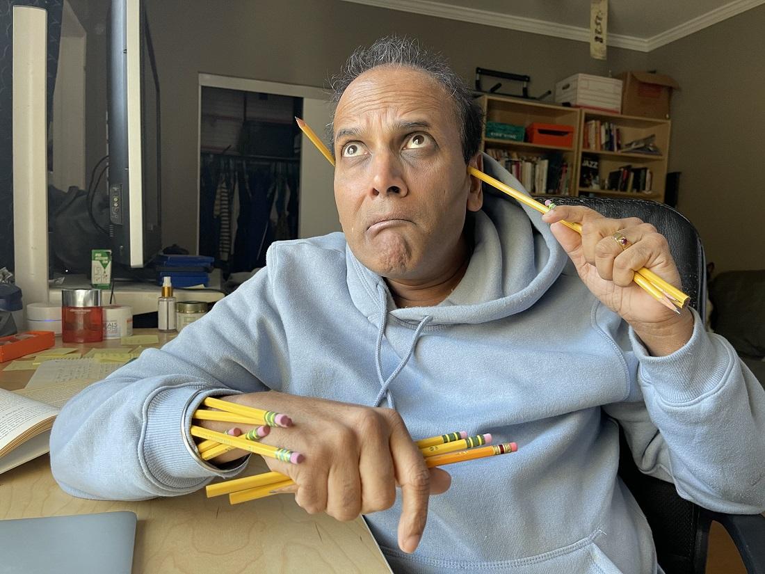 Raajeev Aggerwhil with multiple pencils