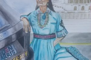"Indian American Sujata Tibrewala's painting ""Bloody Immigrant"" depicts Deb Haaland, the first ever Native American cabinet pick, kneeling over Trump, drawing a parallel to killing of George Floyd by a Minnesota police officer last summer."