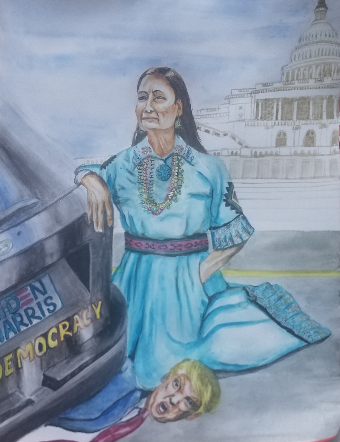 """Indian American Sujata Tibrewala's painting """"Bloody Immigrant"""" depicts Deb Haaland, the first ever Native American cabinet pick, kneeling over Trump, drawing a parallel to killing of George Floyd by a Minnesota police officer last summer."""