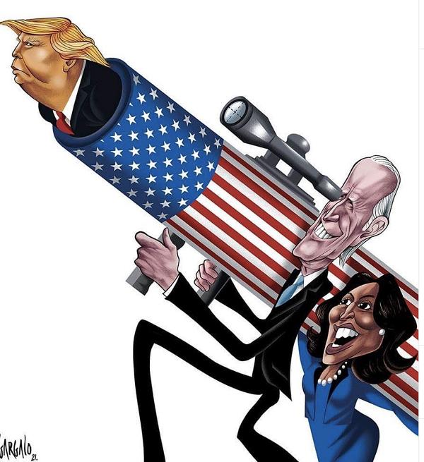 Vasco Gargalo's cartoon Trump on bazooka