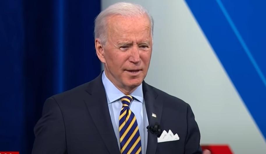 President Joe Biden at the CNN townhall on February 16, 2021.