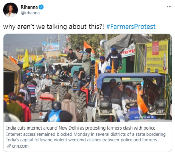Rihanna tweets in support of farmers' protest in India