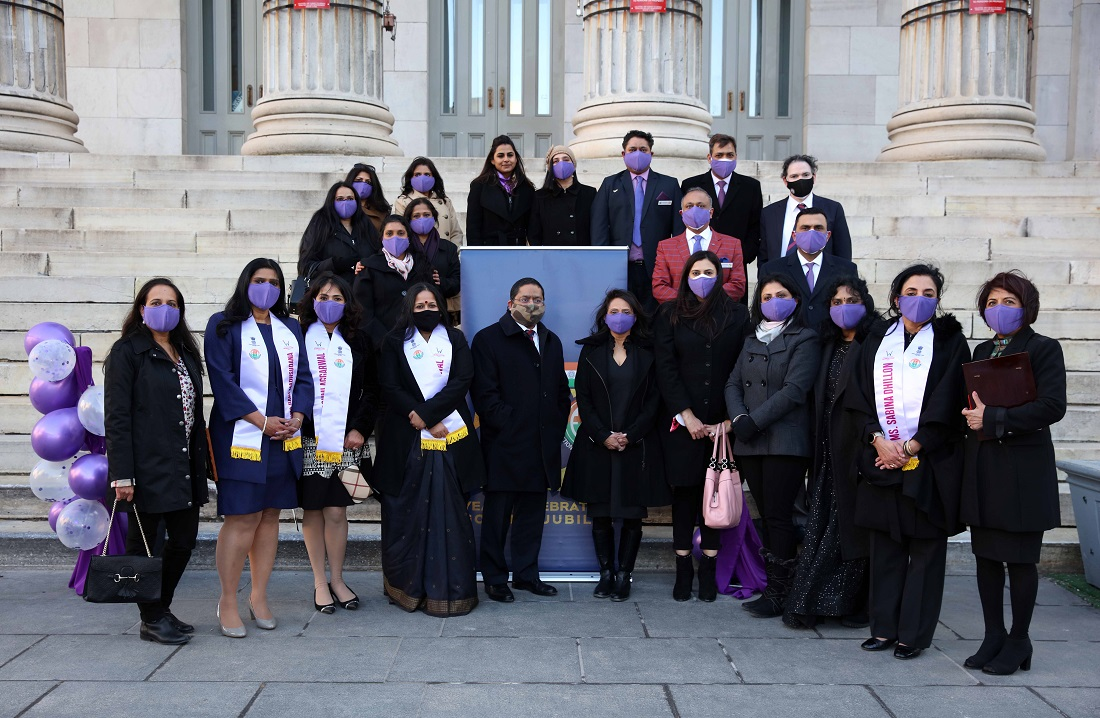 "The Federation of Indian Associations of New York, New Jersey and Connecticut honored six distinguished Indian American women and a group called ""Mask Squad"" at an International Women's Day event on the footsteps of the historic Brooklyn Borough Hall on March 08, 2021."