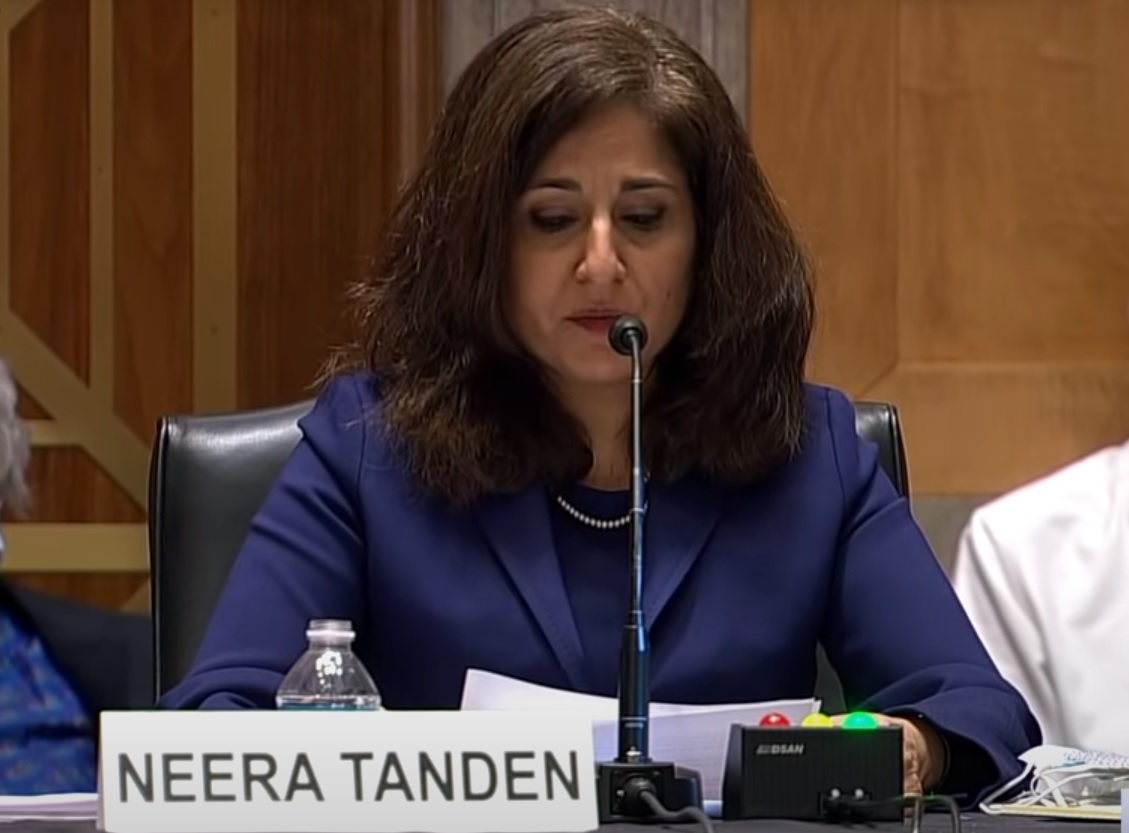 Neera Tanden delivering opening statement at her Senate Homeland Security and Governmental Affairs Committee confirmation hearing on February 9, 2021. Image via C-SPAN screen capture.