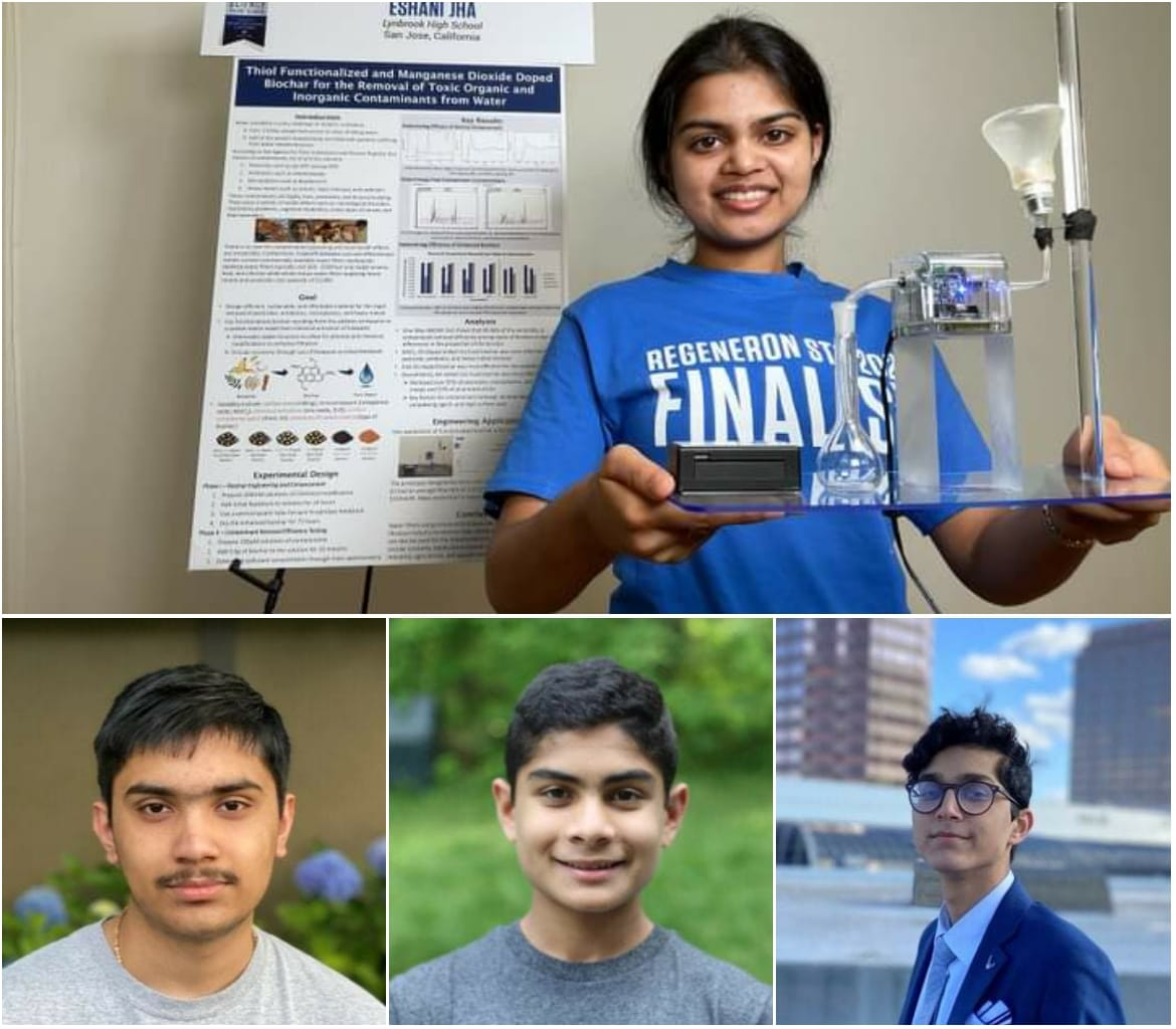 Four Indian American budding scientists are among the top winners of the 2021 Regeneron Science Talent Search (STS): Eshani Jha, 17, of San Jose, California; Gopal Goel, 17, of Portland, Oregon; Vetri Vel, 16, of Bangor, Maine; and Alay Shah, 17, of Plano, Texas.