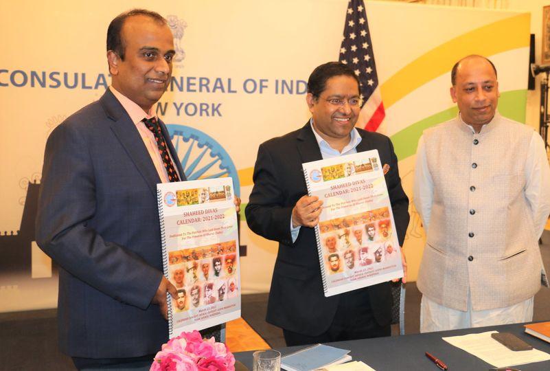 Indian Consul General Ranjith Kumar Jaiswal releasing Shaheed Calendar on March 23, 2021.