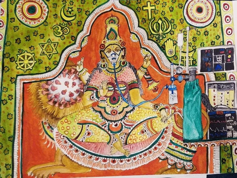 "Sujata Tibrewala's new painting ""Sick Mother India."""