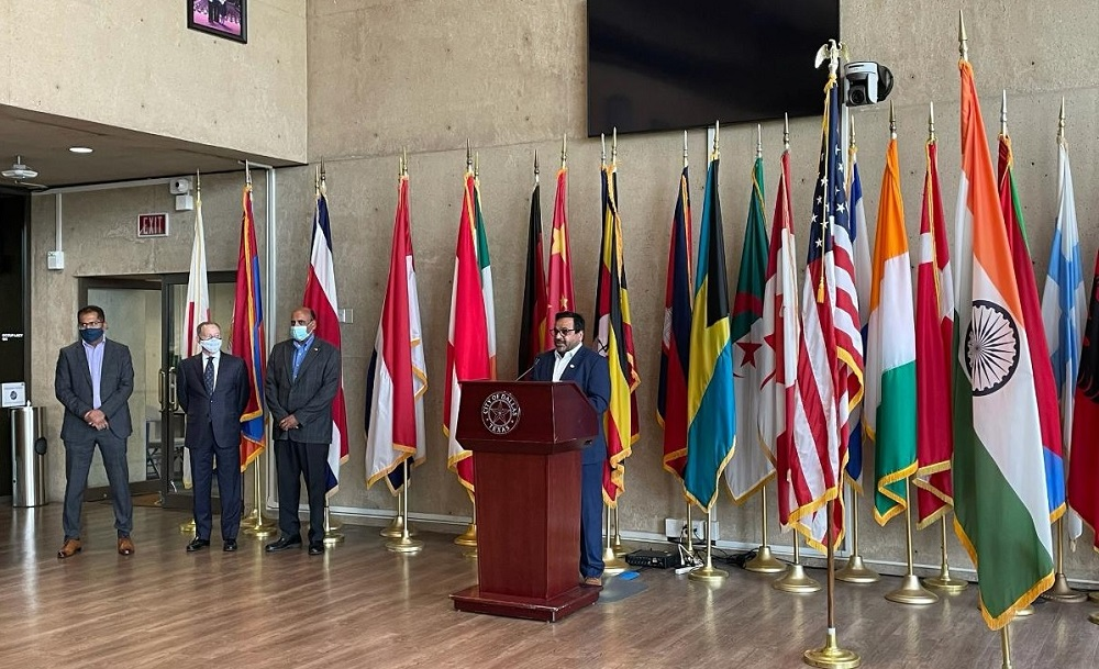 Chairman of Indian American CEO Council Arun Agarwal speaks at City of Dallas press conference