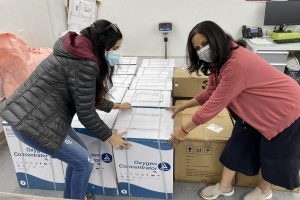 Breathe for India: NYuplift volunteers packing Oxygen concentrators ready tp be shipped to India.