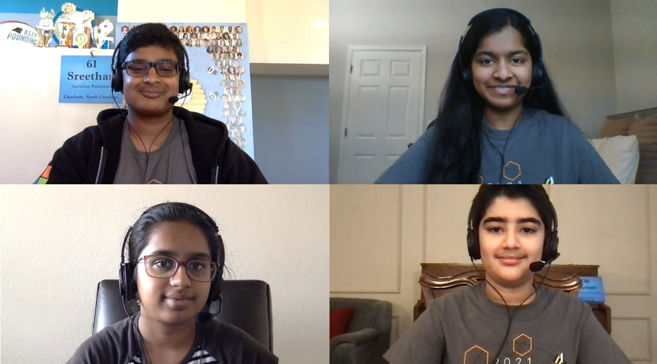 Indian Americans Sreethan Gajula (top left), Akshainie Kamma (top right), Chaitra Thummala (second row left) and Dhroov Bharatia are among the 11 finalists in the 2021 Scripps National Spelling Bee.