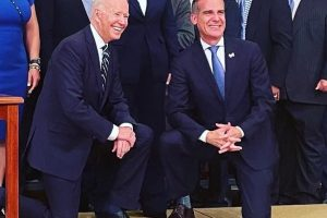 President Joe Biden with Los Angeles Mayor Eric M. Garcetti (right) at a reception for the 2020 World Series Champions Dodgers at the White House on July 2, 2021.