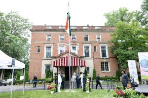 Indian Ambassador to the United States Taranjit Singh Sandhu unfurling the tricolor in Washington, DC, on August 15.